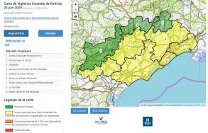 PRÉVENTION FEUX DE FORÊTS : visualisez en un clic le niveau de vigilance des 9 massifs de l'Hérault.