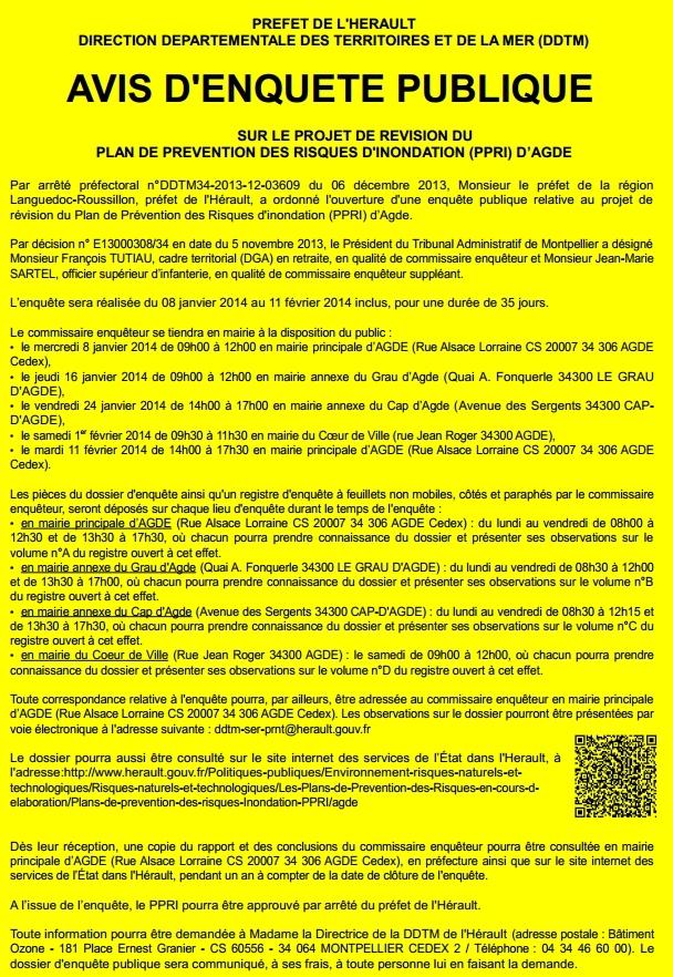 Affiche Enquete Pub PPRI Agde